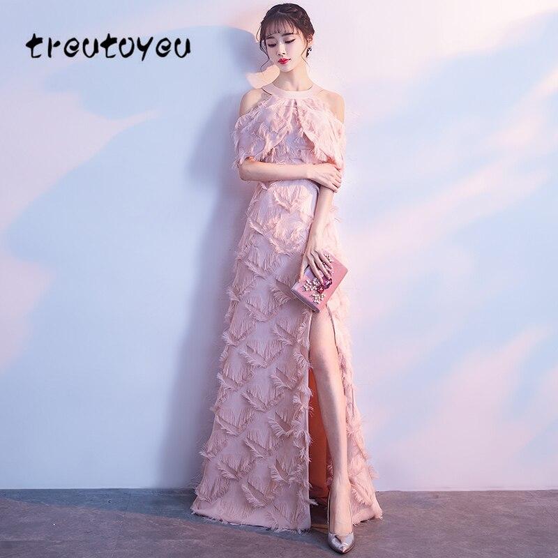 Treutoyeu 2018 Women Long Dress Summer Sweet Lotus Root Powder Dresses Sleeveless Ankle Length Halter Dress Plus Size D061