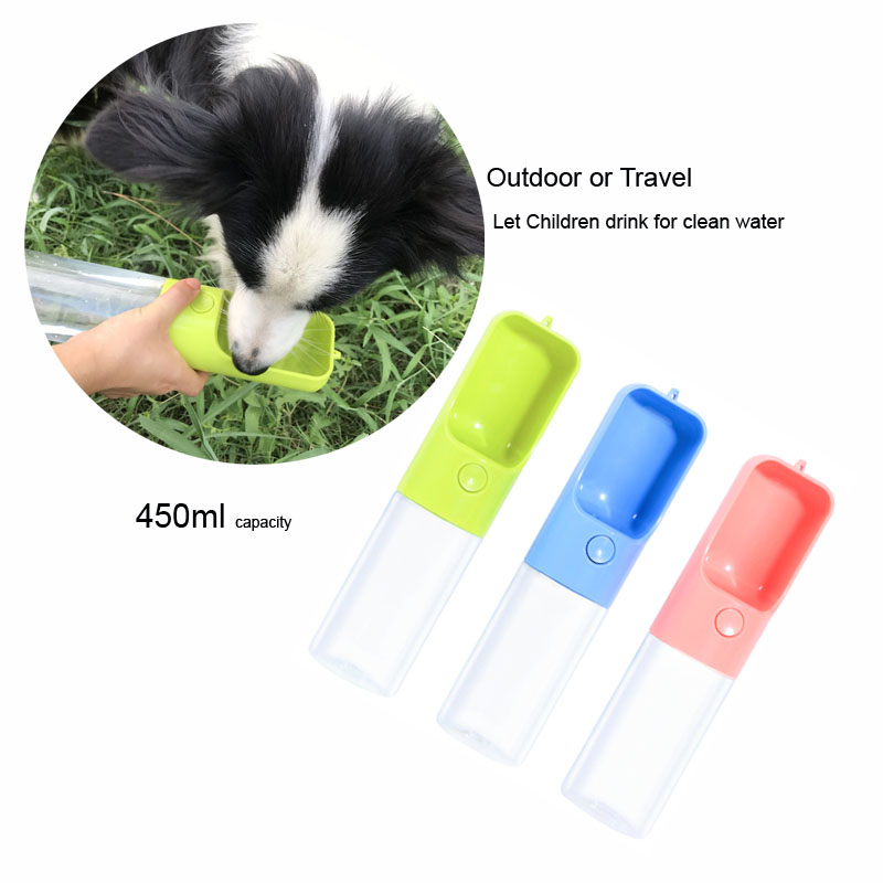 Portable Dog Cat Portable Carbon Filter Water Bottle: 450ml Portable Pet Dog Water Bottle Filter Travel Cups