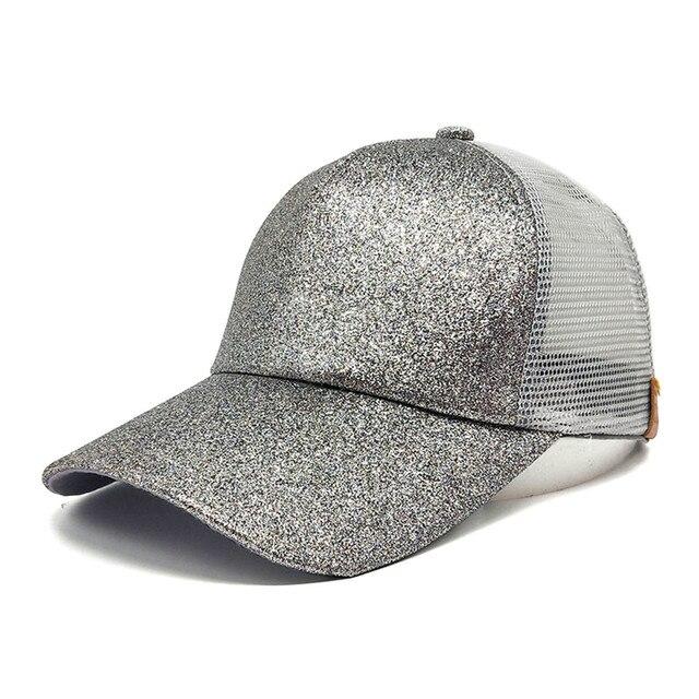 d342f74dc51 2018 CC Glitter Ponytail Baseball Cap Women Snapback Hat Summer Messy Bun  Mesh Hats Casual Adjustable