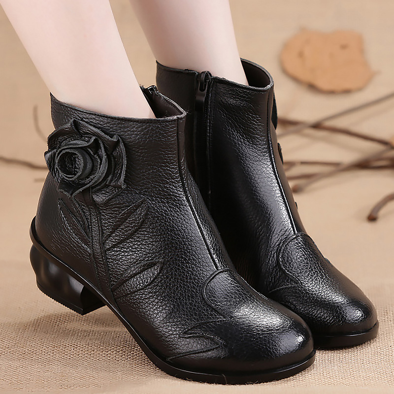 Genuine leather boots woman winter warm shoes 2017 fashion flower wedges solid ladies boots plush ankle boots plus size 35-40 free shipping women fashion winter shoes genuine leather ankle boots wedges female winter working boots plus size 34 41