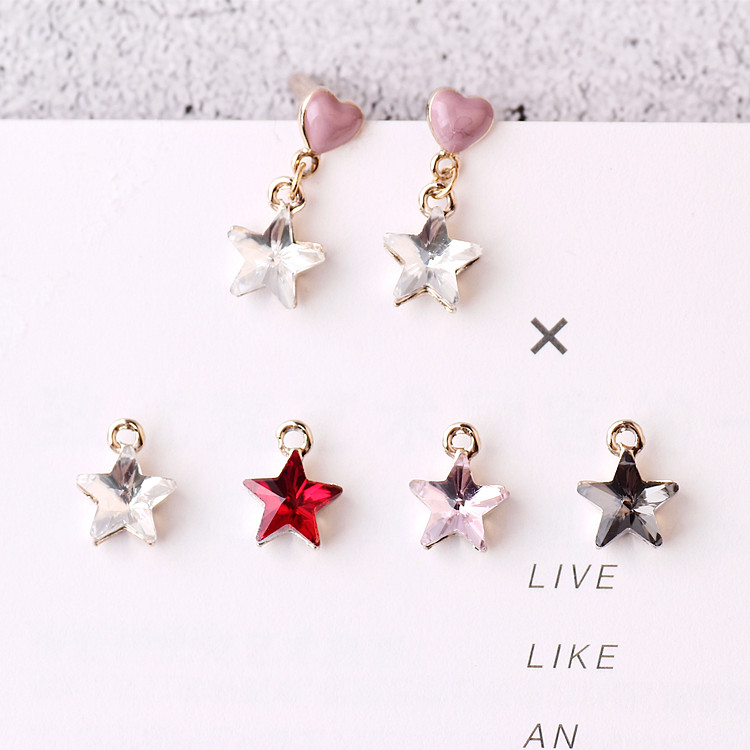 MRHUANG 10PCS Trendy Crystal Glass Star Rhinestone Pendant Gold-colour Charms For DIY hand made fit Necklace bracelte diy craft ...