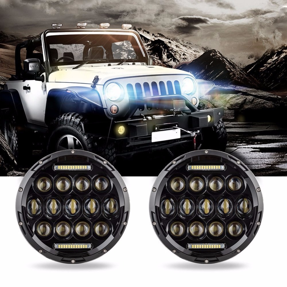 Car Accessories Pair 7 Inch LED Headlights for Jeep Wrangler Round Black DRL and Hi/lo Beam with H4 Plug H4-h13 Adapter h4 7 led headlights with led car canbus led chip 80w 8000lm 6000k hi lo led driving light for off road uaz lada