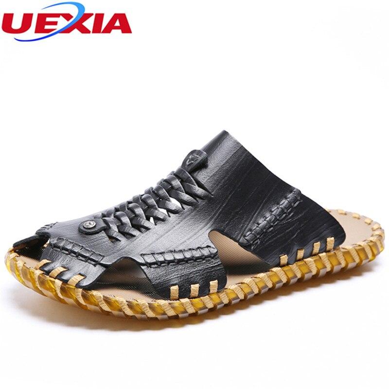 UEXIA Handmade Summer Leather Men Sandals Fashion Designer Breathable Walking Durable Beach Sandals Lace Up Sandals Men Flats