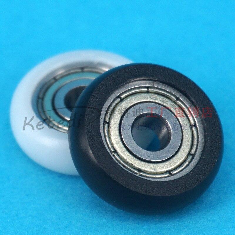 Nylon Plastic Carbon Steel Pulley Wheels Roller Groove  Bearings 5x21.5x7mm