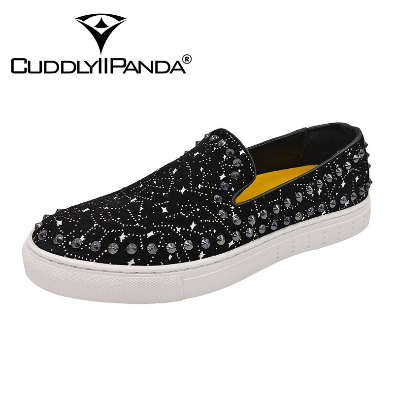 CuddlyIIPanda 2019 Men Fashion Punk Sneakers Men Spring Rivets Split Leather Men Breathable Shoes Men Night Club Fashion Shoes 13