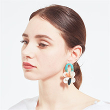 CRLEY New Classic Big Shell Flower Stud Earrings Exaggerated For Womens Fashion Temperament Jewelry
