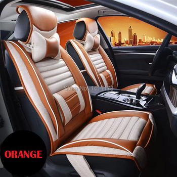 Luxury 5 seats 3 color universal car seat cushion sets quality linen & PU car seat covers front & rear seat supports 9 PCS/set