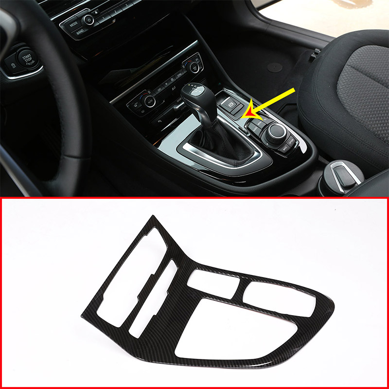 Carbon Fiber Style For BMW 218i Gran Tourer F45 F46 2015-2018 ABS Chrome Center Console Gear Shift Frame Cover Trim new carbon fiber for bmw 5 series f10 2011 2017 520li 525li 530li abs center console gear shift panel cover trim car accessories
