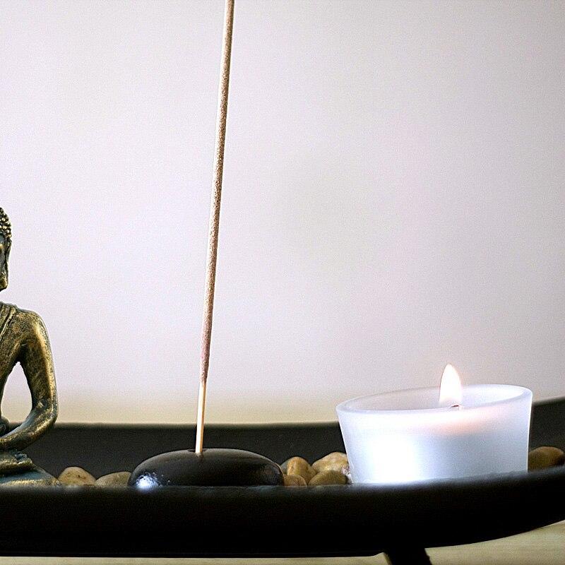 2019 Mode Chinesischen Zen Buddha Harz Sand Duft Kerze Halter Hause Buddha Kerzenhalter Dekoration Handwerk Freies Verschiffen Kerzenhalter