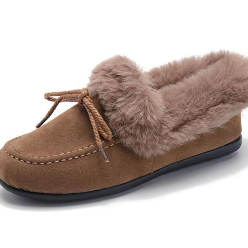 Casual brown De Mocassins Femmes Bout sur Doug Black Slip Hiver noeud Doux Mode Neige Chaussures Troupeau Cuir Nubuck Papillon Peluche En gray Rond q1gwaWF