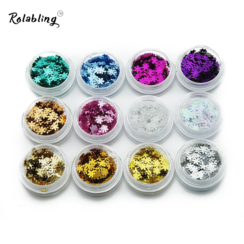 Rolabling Nail Art Decorations Snowflake Design Glitter Nail Powder 12pcs/set Nail Design and All for Nail 24 bottles 3d colorful shiny nail glitter powder sequins manicure festival nail art decorations for women