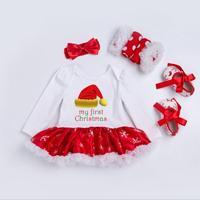 New Baby Christmas Jumpsuit Dress 4 Pcs Sets Clothing 2017 Long Sleeve Clothes Crawling 0 2
