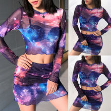 цены на Women Sexy 2Pcs Set See-through Bodycon Skirts +Crop Tops Blouse Clubwear Long Sleeve Mesh Sheer Crop Top в интернет-магазинах