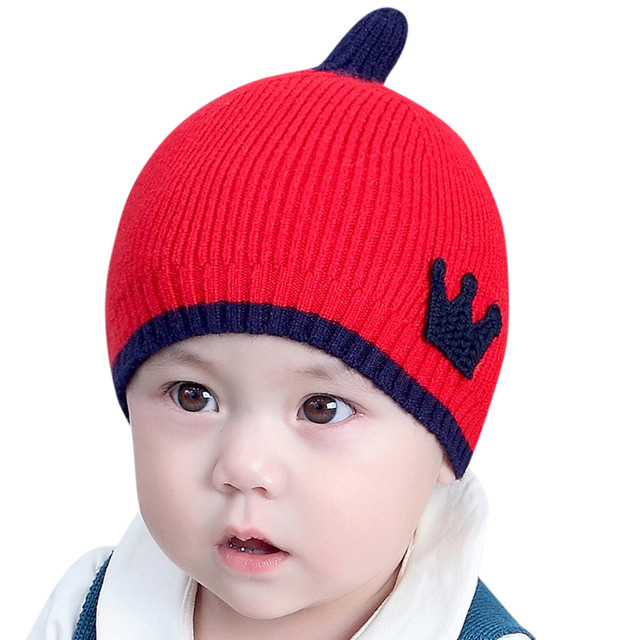 Baby Boys Girls Kids Crown Pattern Hat Children Knitting Warm Hats ...