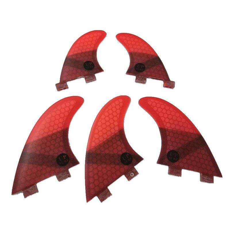 4 pièces/5 pièces G5 + GL FCS Ailettes Honeycomb Fibre de Verre Ailettes Vert Noir Rouge Bleu FCS Quilhas Ailettes g5 avec GL upsurf logo