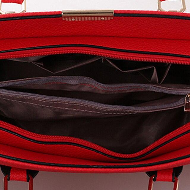 Famous Brand Designer Fashion Women Shoulder Bag Embossing Ladies Red PU Leather Solid Handbag For Woman