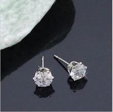 MINHIN Elegant Earrings For Women Exquisite Sparkling Crystal Fashion Stud Earring Lovely Princess Jewelry Silver Earrings(China)