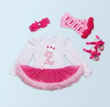 4PCs per Set Long Sleeves White Hot Pink Baby Girls 2nd Birthday Crown Tutu Dress Outfit Headband Leggings Shoes