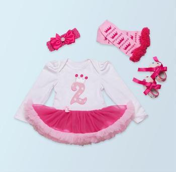Комплект из 4 предметов, платье-пачка с длинными рукавами белого и розового цвета для маленьких девочек, платье с короной на день рождения, п...
