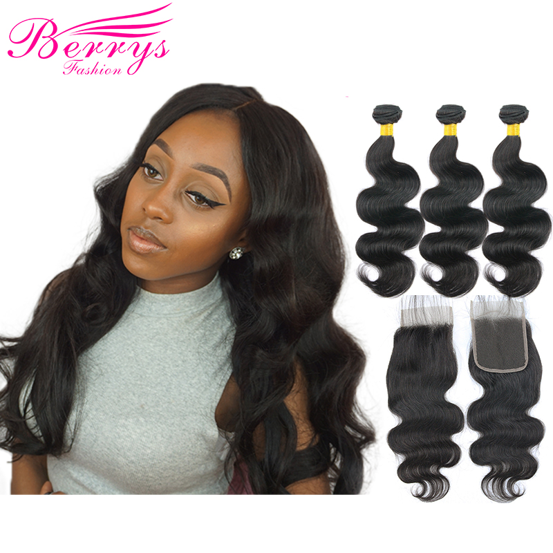 Human-Hair-Bundles Lace-Closure Remy-Hair Body-Wave Hair-Extension Unprocessed Peruvian
