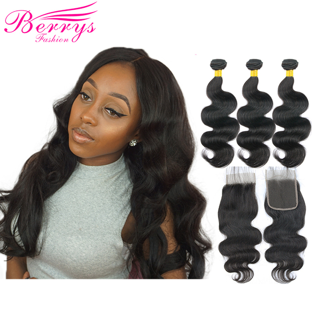 Peruvian Body Wave 3pcs Human Hair Bundles With Lace Closure 4x4