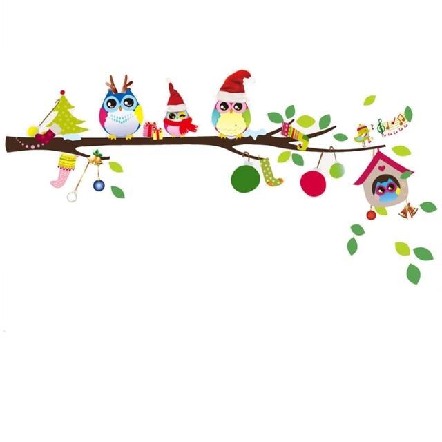 Santa Owl Family Wall Stickers Christmas Cartoon Owls Sticke Wallpaper Art Decor Mural Room Decals Stickers