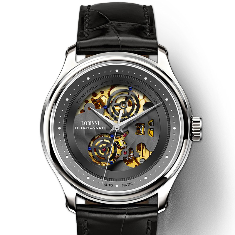 Luxury Brand LOBINNI Men Watches Japan MIYOTA 8N24 Automatic Mechanical Men's Clock Sapphire Skeleton Genuine Leather L5025-1