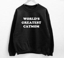 Skuggnas World's Greatest Catmom Sweatshirt Long Sleeve Fashion Casual Tops Crew Neck aesthetic Jumper High quality Unisex Tops