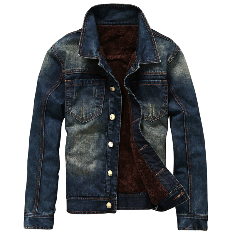 High Quality Mens Winter Jean Jackets Cowboy Streetwear Mens Brand Clothing Single Breas ...