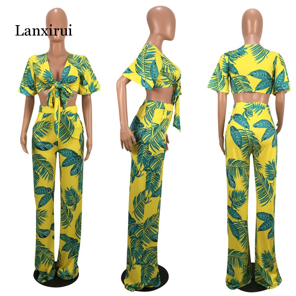 Flower Striped Sexy Two Piece Set Women Deep V-Neck Crop Top And Summer Wide Leg Long Pant  Women 2 Pieces Suits Sets