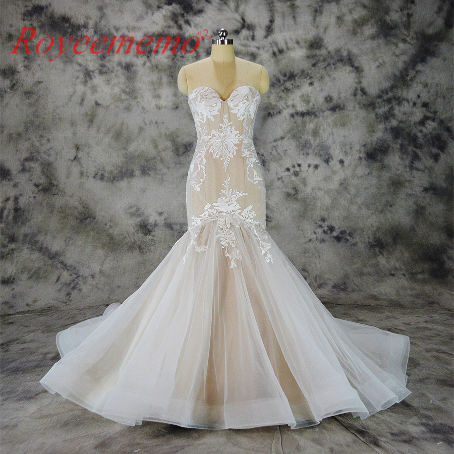 2017 hot sale special lace mermaid Wedding Dress nude satin Bridal gown custom made wedding gown factory directly