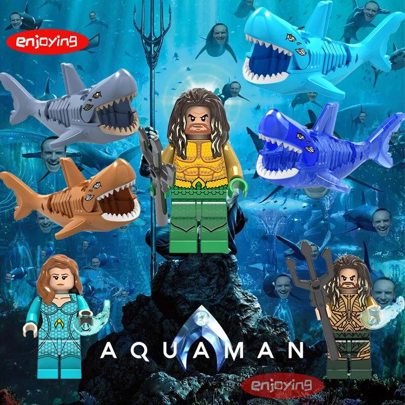 Aquaman Mera Figures Atlantis Legoing Creator Batman Venom Shark Alien K-2Sso Starwars Mini Building Blocks Toys For Children