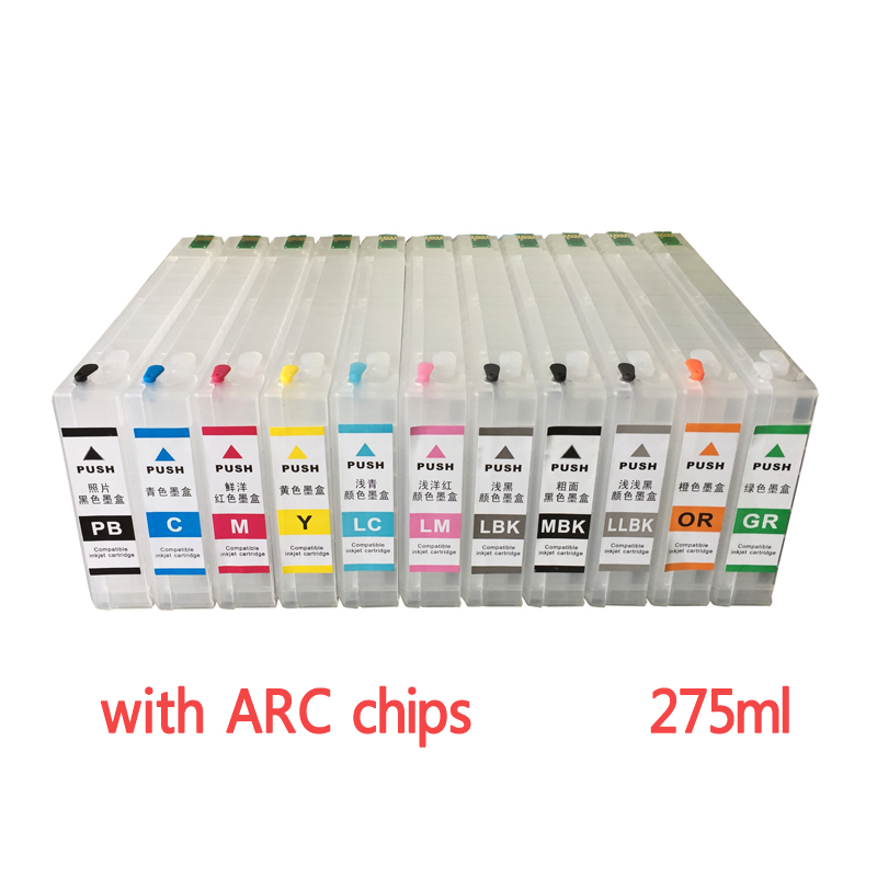 Refillable ink cartridges for Epson stylus pro 4910 large format printer with ARC chips on high quality refillable ink cartridge for epson 7800 9800 7880 9880 large format printer with chips and resetters 8 color and 350ml