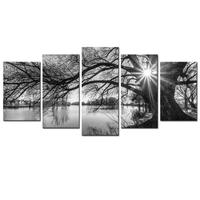 5PCanvas Pictures For Living Room Wall Art Poster Framework 5 Pieces Lakeside Big Trees Paintings Black White Landscape Home De