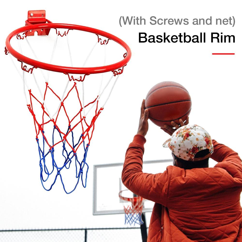 32CM Hanging Basketball Wall Mounted Goal Hoop Rim With Net Screw For Outdoors Indoor Sports