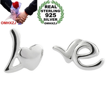 Beautiful English alphabet heart Love 925 sterling silver Stud earrings