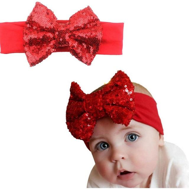 Big Sequin Bow Headband for Kids Newborn Girls Headband Stretch Cotton Headbands  Bow Hair accessories Hairband Elastic f854586fffe0