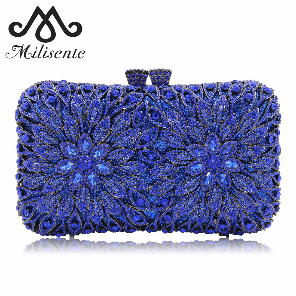 Milisente Women Clutch Bags Full Crystal Evening Bag Blue Party Purse Ladies Wedding Clutches With Long Chain natassie women clutch bags full crystal evening bag blue party purse ladies wedding handbag with long chain