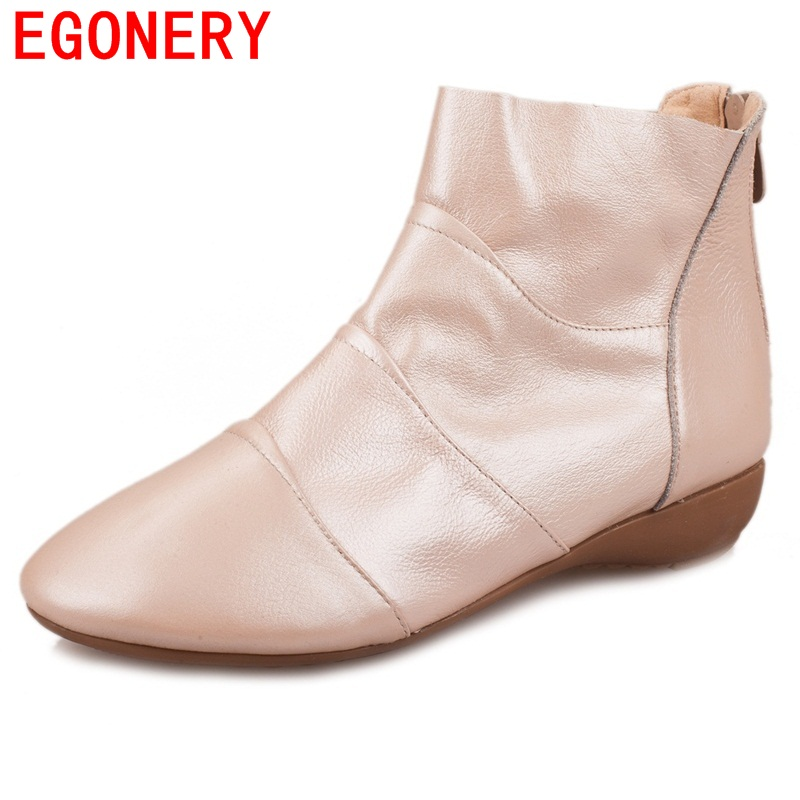 ФОТО EGONERY shoes 2017 new arrival women fashion high quality side zipper genuine leather ankle boots chelsea boots wedges zipper