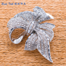 Bowknot Brooch Wedding Bouquet Bow Broach Pins Rhinestone Brooches Crystals Women Jewelry Bridal Accessories Free Shipping 2.7″
