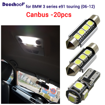 deechooll 20pcs License plate lamp Bulbs+interior dome light for BMW 3 series e91 325xi 328i 328xi 325d 320d 330d touring 06-12 image