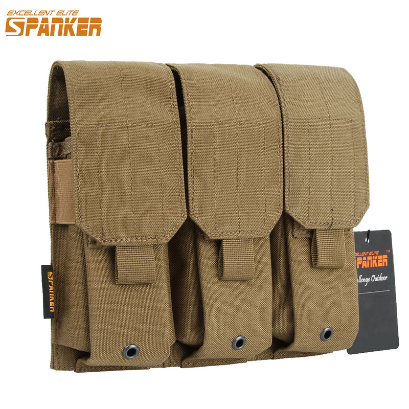 EXCELLENT ELITE SPANKER Tactical Triple <font><b>M4</b></font> <font><b>Magazine</b></font> Pouch Hunting EDC Outdoor Hunting <font><b>Magazine</b></font> Clip Cartridge Bag Accessories image