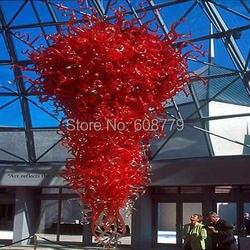 Darmowa wysyłka duży Hotel duży czerwone szkło K9 kryształowy żyrandol