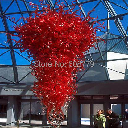 Free Shipping Big Hotel Large Red Glass K9 Crystal Chandelier