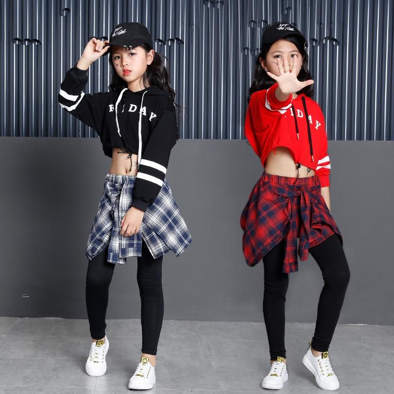 Children's Sports Suits Cotton Clothing Korean Fashion Hip Hop Streetwear Teenage Girls Hoodies Sweatshirt + Plaid Skirt pants