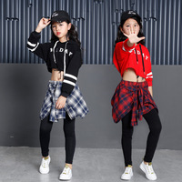 Children's Sports Suits Cotton Clothing Korean Fashion Hip Hop Streetwear Teenage Girls Hoodies Sweatshirt + Plaid Skirt pants