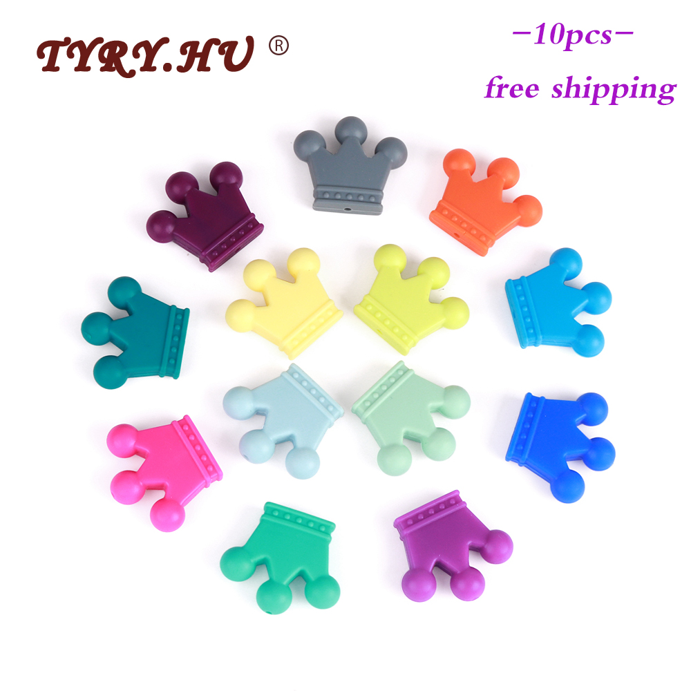 TYRY.HU 10pc Crown Silicone Beads Food Grade Teether Rodents Baby Teething Toy DIY Pendant Necklace Nursing Accessories And Gift