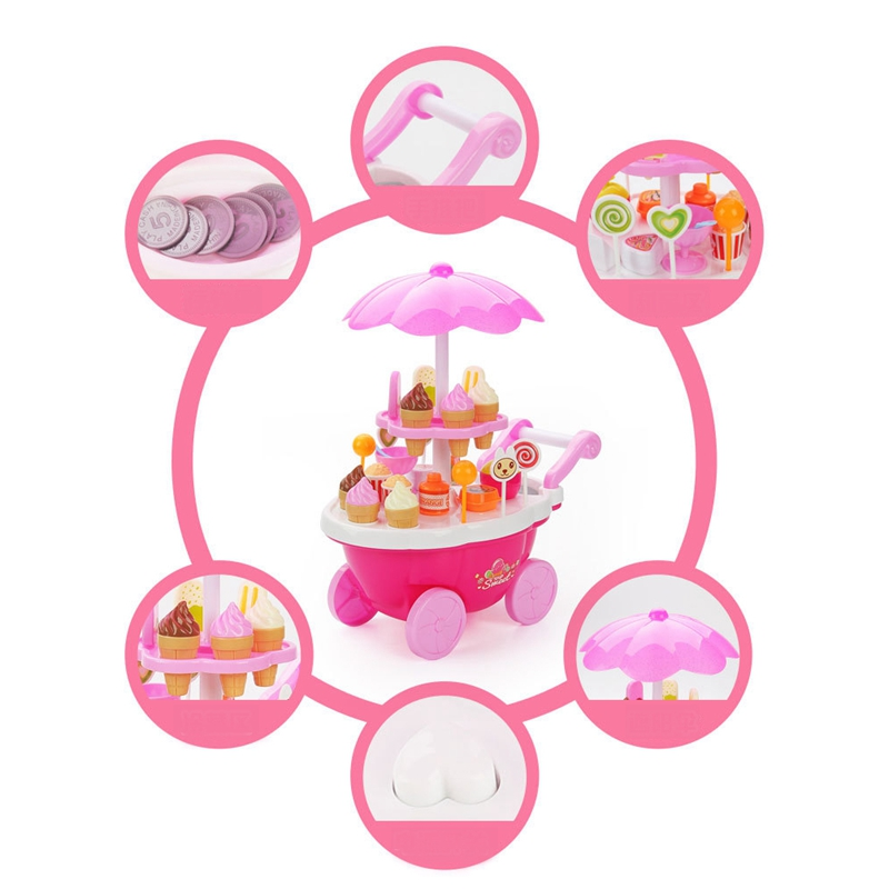 Simulation Small Carts Girl Mini Candy Cart Ice Cream Shop Supermarket Children 39 S Toys Playing Home in Groceries Toys from Toys amp Hobbies