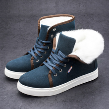 New Brand Flat Heel Men's Shoes Autumn Winter Ankle Boots Male Snow Boots Casual British Style Men Canvas Shoes H7092