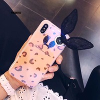 Cartoon Leopard Print Rabbit Lace Ears Blue Lazer Case For Iphone 8 TPU Soft Back Case